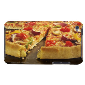 Vegetable pizza sliced on black pan on wood barely there iPod cases