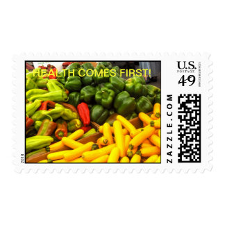 VEGETABLE POSTAGE STAMP HEALTH COMES FIRST