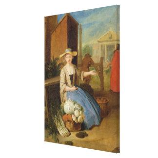 Vegetable Seller, Covent Garden, c.1726 (oil on pa Canvas Print