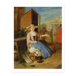Vegetable Seller, Covent Garden, c.1726 (oil on pa Postcard