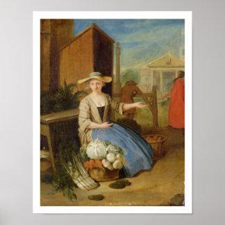 Vegetable Seller, Covent Garden, c.1726 (oil on pa Poster