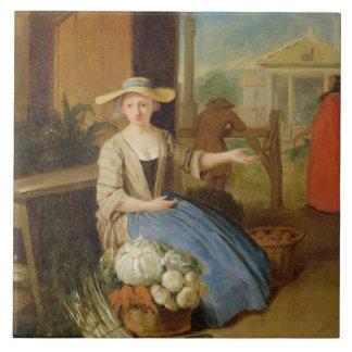 Vegetable Seller, Covent Garden, c.1726 (oil on pa Tile