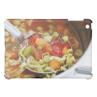 Vegetable soup in pan cover for the iPad mini