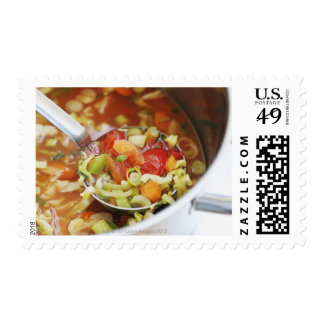 Vegetable soup in pan postage