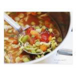 Vegetable soup in pan postcard