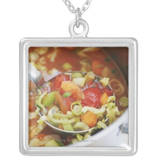 Vegetable soup in pan square pendant necklace