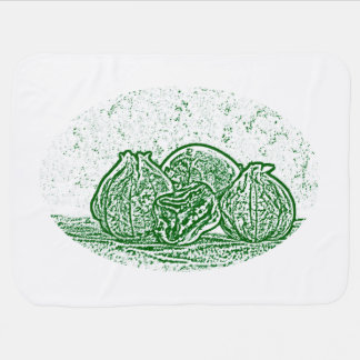 vegetable still life green and white swaddle blankets