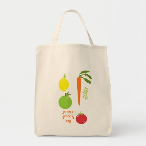 Vegetable Themed Reusable Grocery Tote Bag