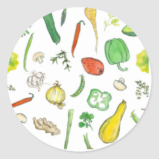 Vegetable Watercolor Illustration Squash Peppers Classic Round Sticker
