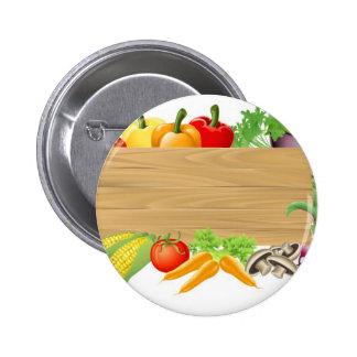 Vegetable wooden sign illustration pinback button