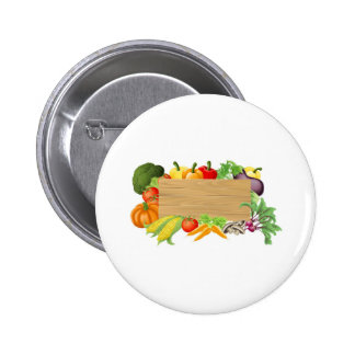Vegetable wooden sign illustration buttons