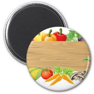 Vegetable wooden sign illustration 2 inch round magnet