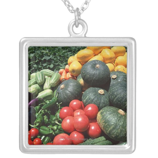Vegetables 2 silver plated necklace