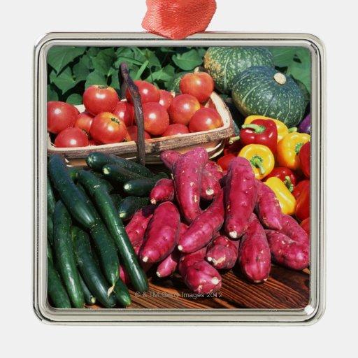 Vegetables 3 square metal christmas ornament
