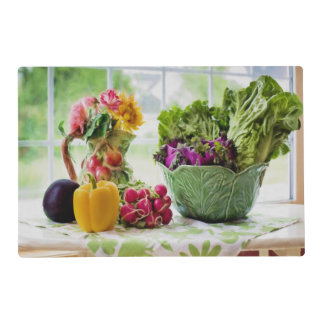 Vegetables and Decorative Vase of Flowers Placemat
