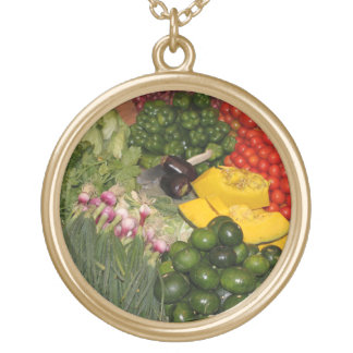 Vegetables Fresh Ripe Garden Mixed Harvest Market Gold Plated Necklace
