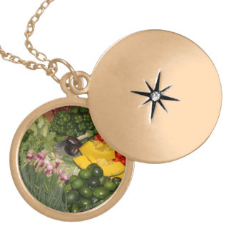Vegetables Fresh Ripe Garden Mixed Harvest Market Locket Necklace