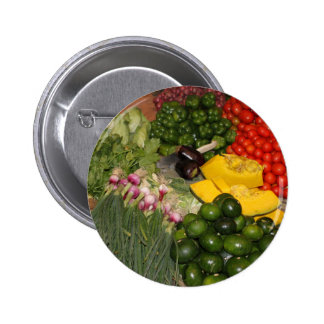 Vegetables Fresh Ripe Garden Mixed Harvest Market Pinback Button