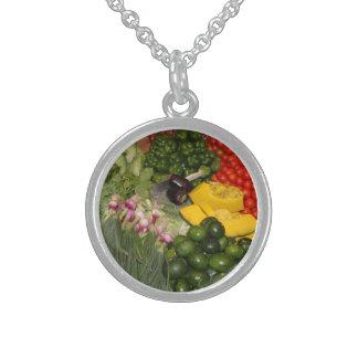 Vegetables Fresh Ripe Garden Mixed Harvest Market Round Pendant Necklace