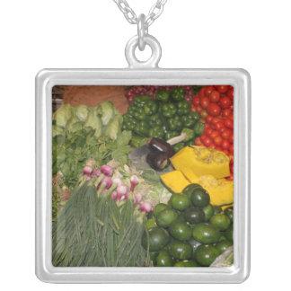 Vegetables Fresh Ripe Garden Mixed Harvest Market Square Pendant Necklace