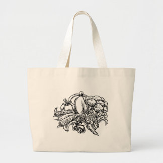 Vegetables Grunge Style Hand Drawn Icon Large Tote Bag