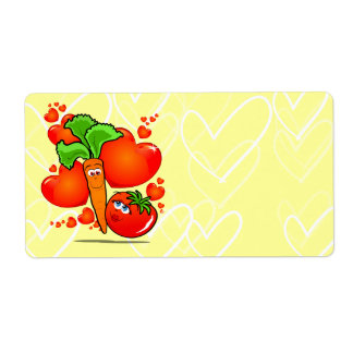 Vegetables in love, label shipping label