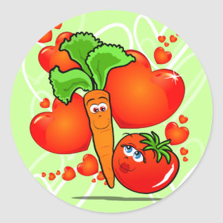 Vegetables in love, sticker