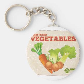 Vegetables Basic Round Button Keychain