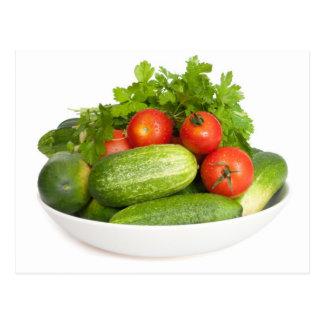 Vegetables on White Postcards