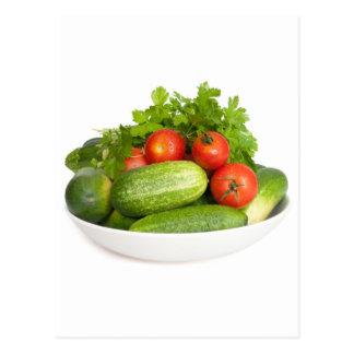 Vegetables on White Postcard