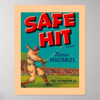 Vegetables Safe Hit Food Vintage Ad Poster