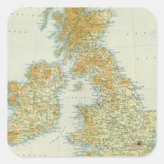 Vegetación de las islas británicas y mapa del pegatina cuadrada
