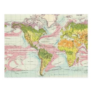 Vegetación del mundo y mapa de corrientes de postal