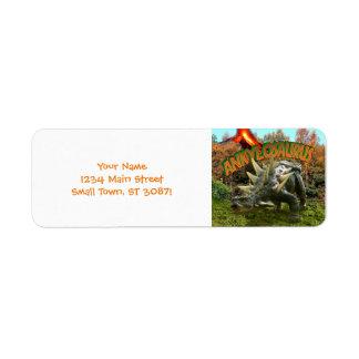 Vegetación y volcán del parque del dinosaurio del etiqueta de remite