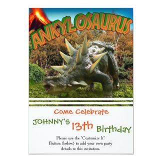 """Vegetación y volcán del parque del dinosaurio del invitación 5"""" x 7"""""""