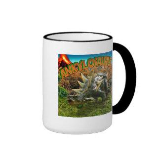 Vegetación y volcán del parque del dinosaurio del taza de dos colores