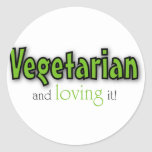 Vegetarian and loving it classic round sticker