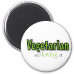 Vegetarian and loving it fridge magnets