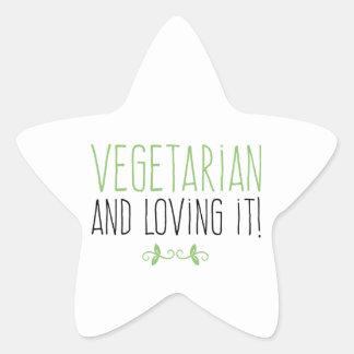 Vegetarian and loving it! star sticker