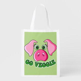 Vegetarian and vegan. Cute pig, go veggie Grocery Bag