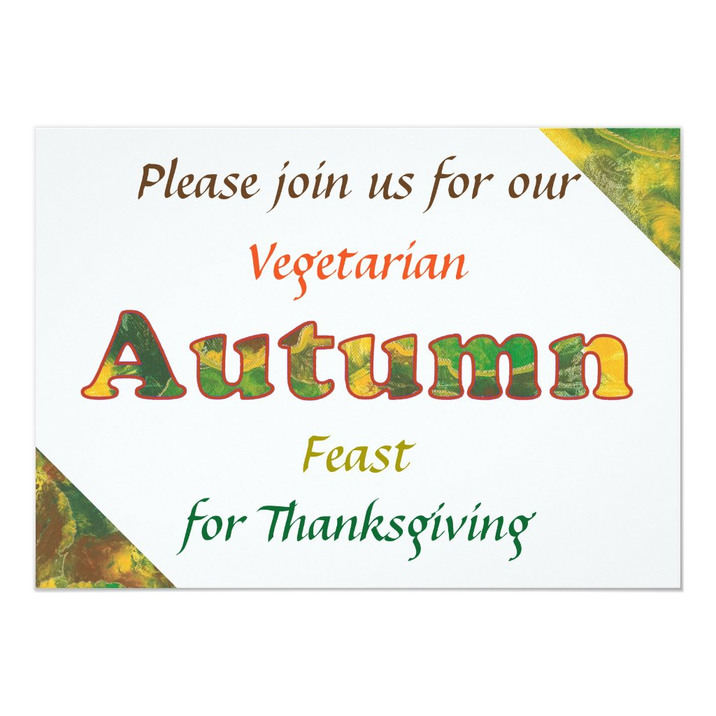 Vegetarian Autumn Feast Thanksgiving Invitations