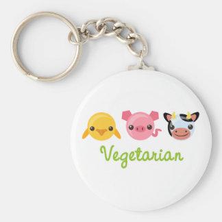Vegetarian Basic Round Button Keychain