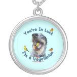 Vegetarian Bird Dog Round Pendant Necklace