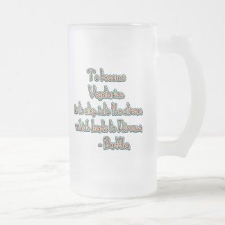 Vegetarian Buddha Quote Frosted Glass Beer Mug