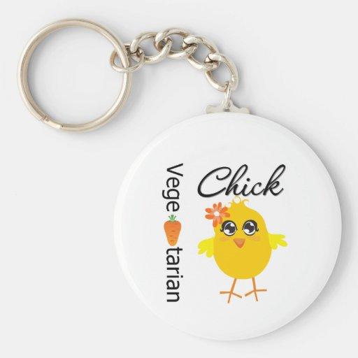 Vegetarian Chick Basic Round Button Keychain