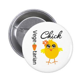 Vegetarian Chick Pinback Button