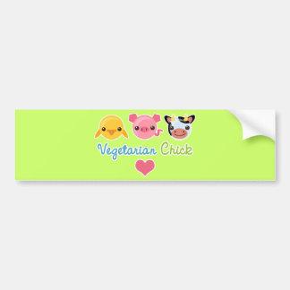 Vegetarian Chick Car Bumper Sticker