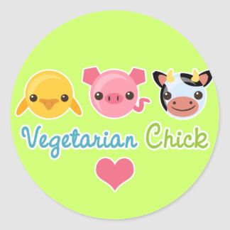 Vegetarian Chick Classic Round Sticker