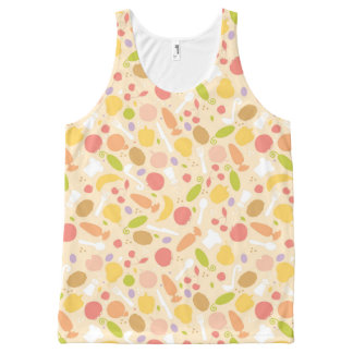 Vegetarian cooking pattern background All-Over print tank top