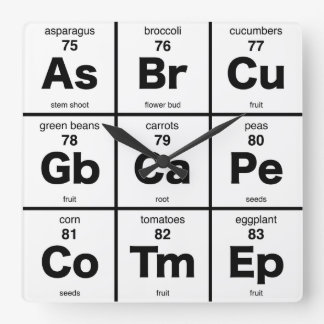 Vegetarian Dinner Time Periodic Table Square Wall Clock